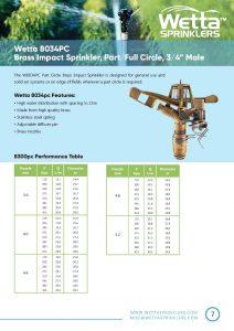 Wetta 8034 Brass sprinkler Brochure