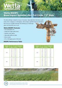 Wetta 8023pc Brass sprinkler Brochure